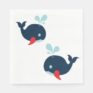 Nautical Navy Red Whales Wedding Beach Disposable Napkin
