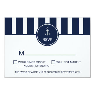 Nautical Navy RSVP Card