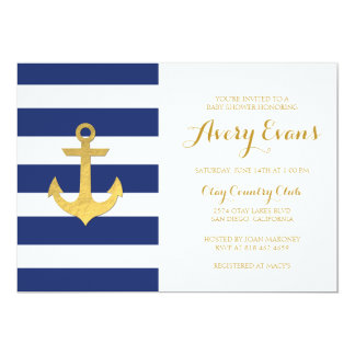 Nautical Navy Stripe Baby Shower with Gold Anchor Card