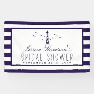 Nautical Navy Stripe Lighthouse Bridal Shower Banner