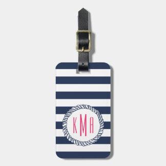 Nautical Navy Stripe & Pink Monogram Luggage Tag