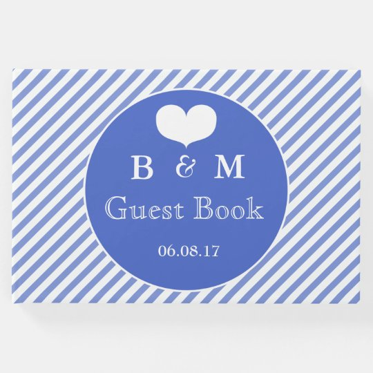 Nautical Navy Striped Personalized Guestbook