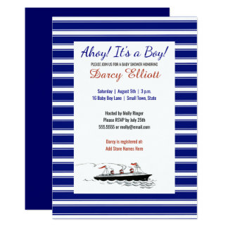 Nautical Navy Stripes Ahoy It's a Boy Baby Shower Card