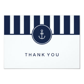 "Nautical Navy Thank You Card 3.5"" X 5"" Invitation Card"