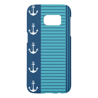 Nautical Navy Turquoise Stripe Design Samsung Galaxy S7 Case