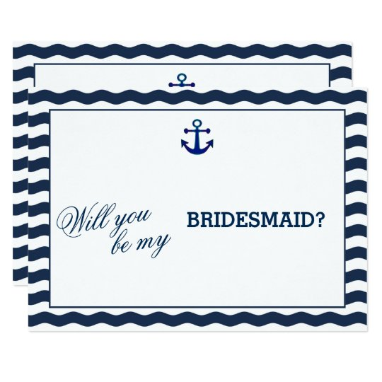 Nautical Navy Waves WILL YOU BE MY BRIDESMAID Card