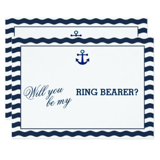 Nautical Navy Waves WILL YOU BE MY RING BEARER Card