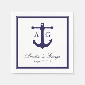 Nautical Navy Wedding Disposable Napkin