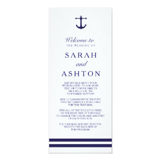 Nautical Navy Wedding Program