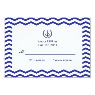 Nautical Navy Wedding RSVP Card