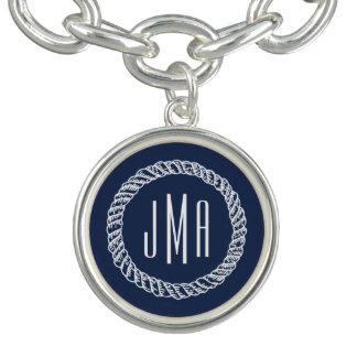 Nautical Navy & White Rope Monogram Charm Bracelet