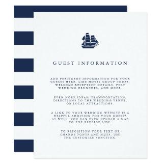 "Nautical Navy & White Ship Wedding Guest Details 4.25"" X 5.5"" Invitation Card"