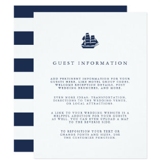 Nautical Navy & White Ship Wedding Guest Details Card