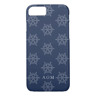 Nautical Navy & White Ships Wheel Pattern Monogram iPhone 8/7 Case