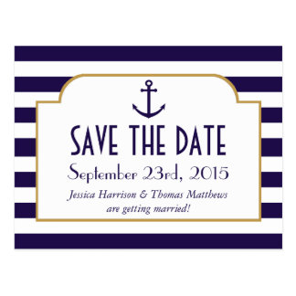 Nautical Navy & White Stripe Anchor Save The Date Postcard