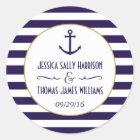 Nautical Navy & White Stripe Anchor Wedding Favour Classic Round Sticker