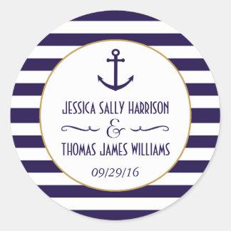 Nautical Navy & White Stripe Anchor Wedding Favour Round Sticker
