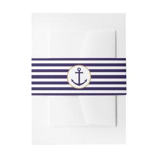 Nautical Navy & White Stripe Anchor Wedding Invitation Belly Band