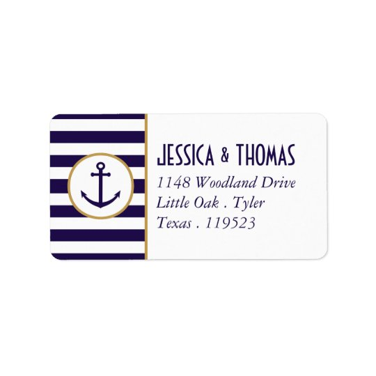 Nautical Navy & White Stripe Anchor Wedding Label