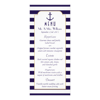 Nautical Navy & White Stripe Anchor Wedding Menu