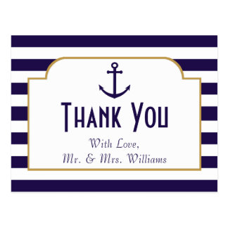 Nautical Navy & White Stripe Anchor Wedding Postcard
