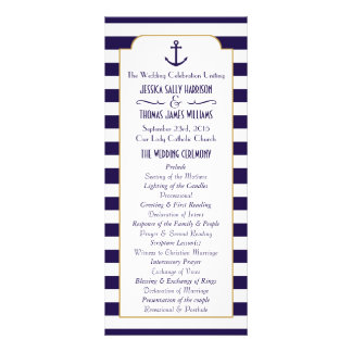 Nautical Navy & White Stripe Anchor Wedding Rack Card