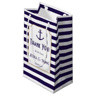 Nautical Navy & White Stripe Anchor Wedding Small Gift Bag