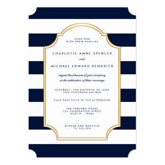 "Nautical Navy | White Stripe Modern Wedding 5"" X 7"" Invitation Card"