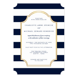 Nautical Navy | White Stripe Modern Wedding Card