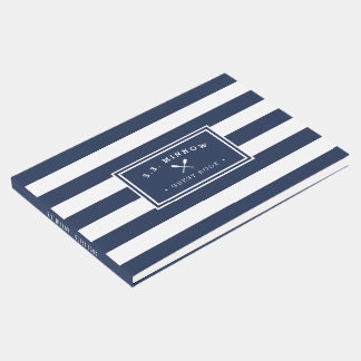 Nautical Navy & White Stripe | Personalized Boat Guest Book