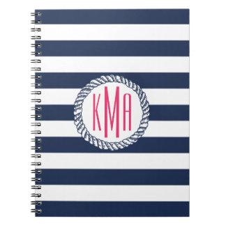 Nautical Navy & White Stripe w/ Pink Monogram Spiral Notebook