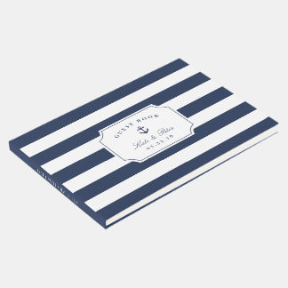 Nautical Navy & White Stripe Wedding Guest Book