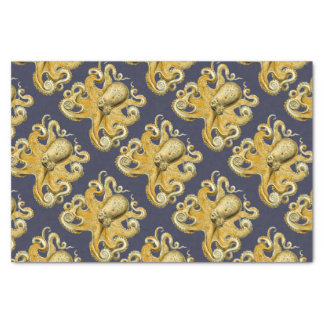 Nautical Navy & Yellow Vintage Octopus Tissue Paper