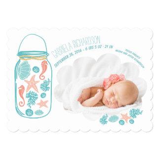 Nautical Newborn Baby Photo Birth Announcement