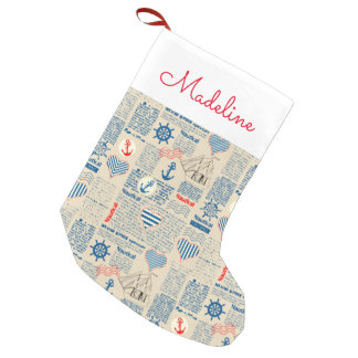 Nautical Newspaper Pattern | Add Your Name Small Christmas Stocking