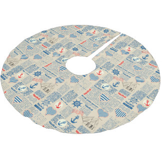 Nautical Newspaper Pattern Brushed Polyester Tree Skirt