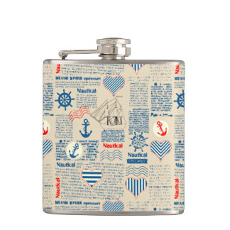 Nautical Newspaper Pattern Flask