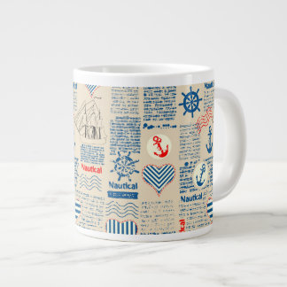 Nautical Newspaper Pattern Large Coffee Mug