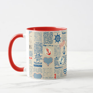 Nautical Newspaper Pattern Mug