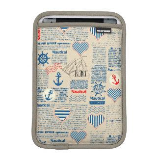 Nautical Newspaper Pattern Sleeve For iPad Mini