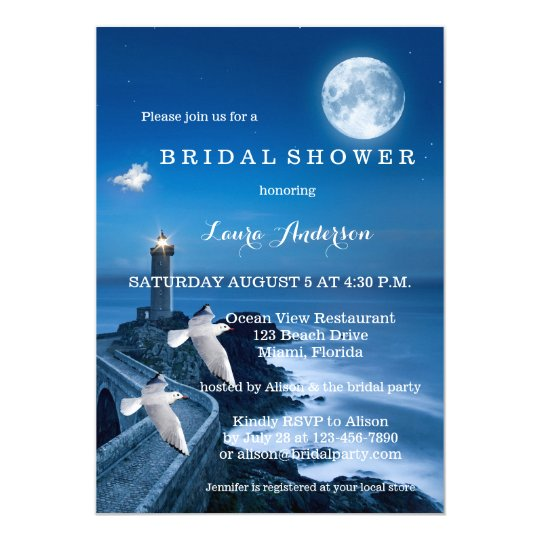 Nautical Night Lighthouse Bridal Shower Invitation