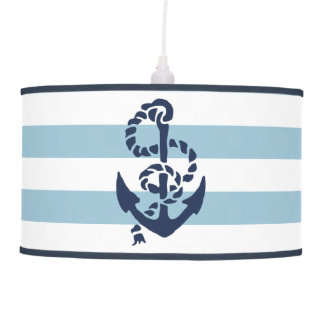 Nautical Nursery Blue Stripe Anchor Ceiling Lamp