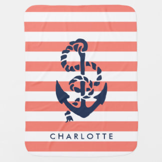 Nautical Nursery Coral Stripe Anchor Personalized Stroller Blankets