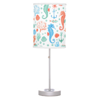 Nautical Nursery Lamp - Coral Blue