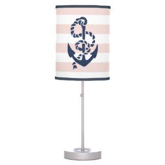 Nautical Nursery Pink Stripe Anchor Table Lamp
