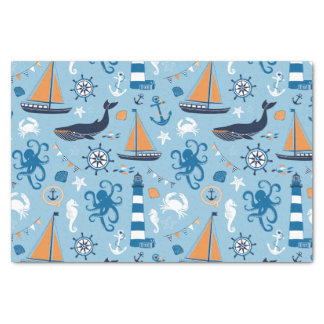 Nautical Ocean Blue and Orange Tissue Paper