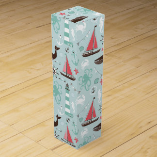 Nautical Ocean Blue and Rose Wine Boxes
