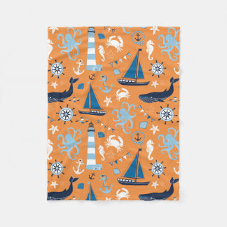 Nautical Ocean Orange Fleece Blanket