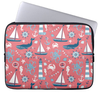 Nautical Ocean Rose Laptop Sleeve