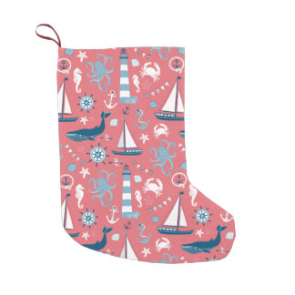 Nautical Ocean Rose Small Christmas Stocking
